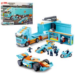 """Конструктор """" Трейлер с прицепом Формулы-1 + гоночная машина """" 1044дет."""